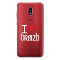 TPU0LENNY5COEURBREIZH - Coque souple pour Wiko Lenny 5 avec impression Motifs coeur rouge I Love Breizh