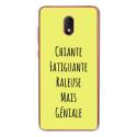 TPU0LENNY5GENIALEJAUNE - Coque souple pour Wiko Lenny 5 avec impression Motifs Chiante mais Géniale jaune