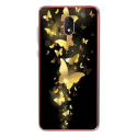 TPU0LENNY5PAPILLONSDORES - Coque souple pour Wiko Lenny 5 avec impression Motifs papillons dorés