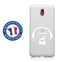 TPU0NOKIA31SINGECASQ - Coque souple pour Nokia 3-1 avec impression Motifs singe avec son casque