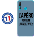 TPU0PSMART19APEROBLEU - Coque souple pour Huawei P Smart (2019) avec impression Motifs l'apéro recrute bleu