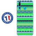TPU0PSMART19AZTEQUEBLEUVER - Coque souple pour Huawei P Smart (2019) avec impression Motifs aztèque bleu et vert
