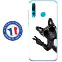 TPU0PSMART19CHIENVBLANC - Coque souple pour Huawei P Smart (2019) avec impression Motifs chien à lunettes sur fond blanc