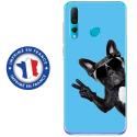 TPU0PSMART19CHIENVBLEU - Coque souple pour Huawei P Smart (2019) avec impression Motifs chien à lunettes sur fond bleu