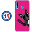 TPU0PSMART19CHIENVFUSHIA - Coque souple pour Huawei P Smart (2019) avec impression Motifs chien à lunettes sur fond fushia