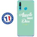 TPU0PSMART19DIEUTURQUOISE - Coque souple pour Huawei P Smart (2019) avec impression Motifs Appelle moi Dieu turquoise
