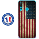 TPU0PSMART19DRAPUSAVINTAGE - Coque souple pour Huawei P Smart (2019) avec impression Motifs drapeau USA vintage