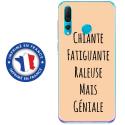 TPU0PSMART19GENIALEBEIGE - Coque souple pour Huawei P Smart (2019) avec impression Motifs Chiante mais Géniale beige