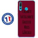 TPU0PSMART19GENIALEBORDEAU - Coque souple pour Huawei P Smart (2019) avec impression Motifs Chiante mais Géniale bordeau