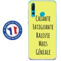 TPU0PSMART19GENIALEJAUNE - Coque souple pour Huawei P Smart (2019) avec impression Motifs Chiante mais Géniale jaune