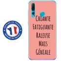 TPU0PSMART19GENIALEROSE - Coque souple pour Huawei P Smart (2019) avec impression Motifs Chiante mais Géniale rose