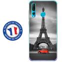 TPU0PSMART19PARIS2CV - Coque souple pour Huawei P Smart (2019) avec impression Motifs Paris et 2CV rouge