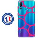 TPU0PSMART19RONDSFUSHIAS - Coque souple pour Huawei P Smart (2019) avec impression Motifs ronds fushias