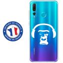 TPU0PSMART19SINGECASQ - Coque souple pour Huawei P Smart (2019) avec impression Motifs singe avec son casque
