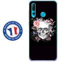 TPU0PSMART19SKULLFLOWER - Coque souple pour Huawei P Smart (2019) avec impression Motifs skull fleuri