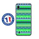 TPU0TPU0A10AZTEQUEBLEUVER - Coque souple pour Samsung Galaxy A10 avec impression Motifs aztèque bleu et vert