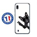 TPU0TPU0A10CHIENVBLANC - Coque souple pour Samsung Galaxy A10 avec impression Motifs chien à lunettes sur fond blanc