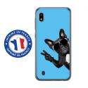 TPU0TPU0A10CHIENVBLEU - Coque souple pour Samsung Galaxy A10 avec impression Motifs chien à lunettes sur fond bleu