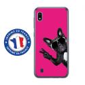 TPU0TPU0A10CHIENVFUSHIA - Coque souple pour Samsung Galaxy A10 avec impression Motifs chien à lunettes sur fond fushia