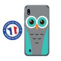 TPU0TPU0A10CHOUETTE1 - Coque souple pour Samsung Galaxy A10 avec impression Motifs chouette bleue et grise