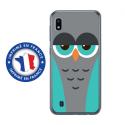 TPU0TPU0A10CHOUETTE2 - Coque souple pour Samsung Galaxy A10 avec impression Motifs chouette endormie bleue et grise