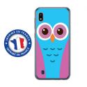 TPU0TPU0A10CHOUETTE3 - Coque souple pour Samsung Galaxy A10 avec impression Motifs chouette bleue et rose