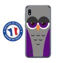 TPU0TPU0A10CHOUETTE6 - Coque souple pour Samsung Galaxy A10 avec impression Motifs chouette endormie mauve et grise