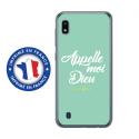 TPU0TPU0A10DIEUTURQUOISE - Coque souple pour Samsung Galaxy A10 avec impression Motifs Appelle moi Dieu turquoise