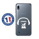 TPU0TPU0A10SINGECASQ - Coque souple pour Samsung Galaxy A10 avec impression Motifs singe avec son casque