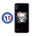 TPU0TPU0A10SKULLFLOWER - Coque souple pour Samsung Galaxy A10 avec impression Motifs skull fleuri