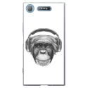 TPU0XPERIAXZ1VIEUSINGECASQ - Coque souple pour Sony Xperia XZ1 avec impression Motifs singe avec casque