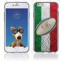 TPU1IPHONE6BALLONITALIE - Coque Souple en gel pour Apple iPhone 6 avec impression ballon de rugby et drapeau de l'Italie