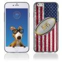TPU1IPHONE6BALLONUSA - Coque Souple en gel pour Apple iPhone 6 avec impression ballon de rugby et drapeau des États-Unis