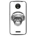 TPU1MOTOCVIEUSINGECASQ - Coque souple pour Motorola Moto C avec impression Motifs singe avec casque