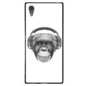 TPU1XA1ULTRAVIEUSINGECASQ - Coque souple pour Sony Xperia XA1 Ultra avec impression Motifs singe avec casque