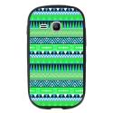 TPU1YOUNG2AZTEQUEBLEUVER - Coque souple pour Samsung Galaxy Young 2 SM-G130 avec impression Motifs aztèque bleu et vert