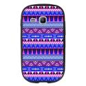 TPU1YOUNG2AZTEQUEBLEUVIO - Coque souple pour Samsung Galaxy Young 2 SM-G130 avec impression Motifs aztèque bleu et violet
