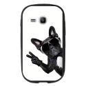 TPU1YOUNG2CHIENVBLANC - Coque souple pour Samsung Galaxy Young 2 SM-G130 avec impression Motifs chien à lunettes sur fond b