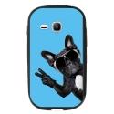 TPU1YOUNG2CHIENVBLEU - Coque souple pour Samsung Galaxy Young 2 SM-G130 avec impression Motifs chien à lunettes sur fond b