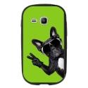 TPU1YOUNG2CHIENVVERT - Coque souple pour Samsung Galaxy Young 2 SM-G130 avec impression Motifs chien à lunettes sur fond v