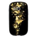 TPU1YOUNG2PAPILLONSDORES - Coque souple pour Samsung Galaxy Young 2 SM-G130 avec impression Motifs papillons dorés