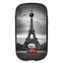 TPU1YOUNG2PARIS2CV - Coque souple pour Samsung Galaxy Young 2 SM-G130 avec impression Motifs Paris et 2CV rouge