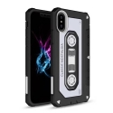 TPUCASSETTE-IPXBLANC - Coque souple aspect cassette audio iPhone X coloris noir et blanc