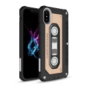TPUCASSETTE-IPXGOLD - Coque souple aspect cassette audio iPhone X coloris noir et gold