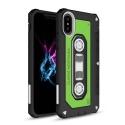 TPUCASSETTE-IPXVERT - Coque souple aspect cassette audio iPhone X coloris noir et vert