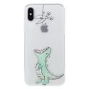 TPUIPX-CROCPOMME - Coque souple iPhone X motif crocodile rose matière flexible enveloppante