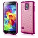 TPULOSANGS5FUSHIA - Coque souple avec dos aspect cuir fushia pour Samsung Galaxy S5