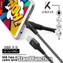 UNIKAB-USBCNOIR - Câble USB vers USB-C noir fonction stand et renforcé Kevlar