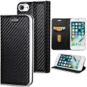 WALLCARBO-IP8 - Etui iPhone 8 rabat latéral aspect carbone fonction stand