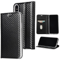 WALLCARBO-IPXNOIR - Etui iPhone X rabat latéral aspect carbone fonction stand